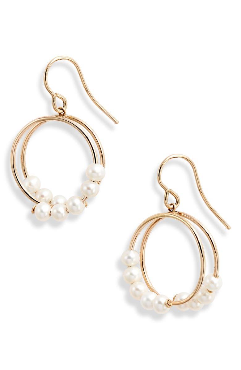 POPPY FINCH Pearl Spiral Drop Earrings, Main, color, GOLD/ PEARL