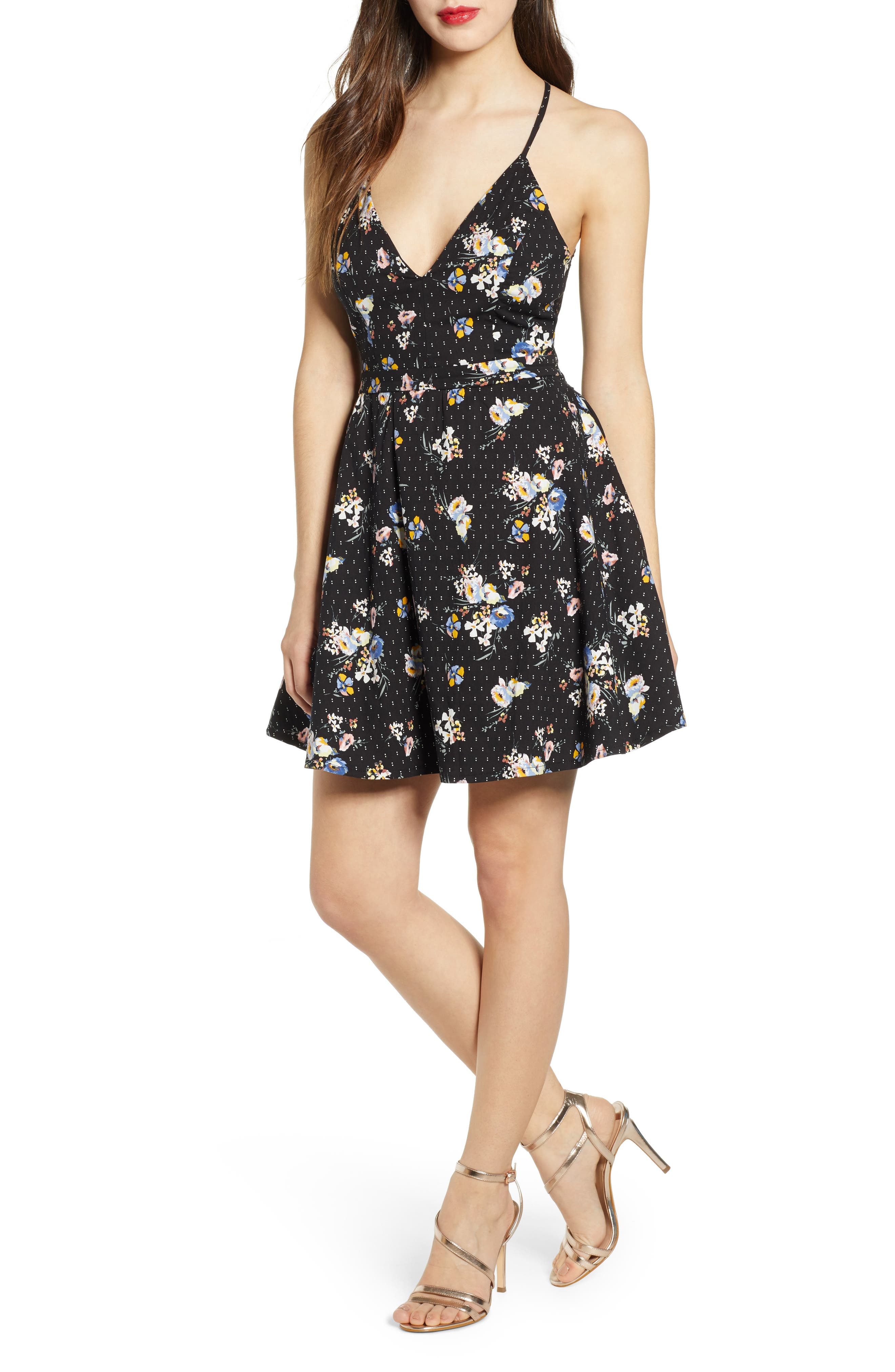 Love, Nickie Lew Floral Lace Back Detail Party Dress, Black