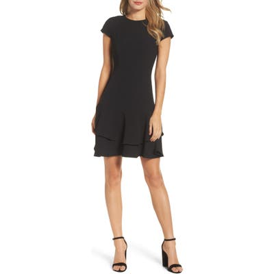 Petite Eliza J Stretch Ruffle Crepe Sheath Minidress, Black