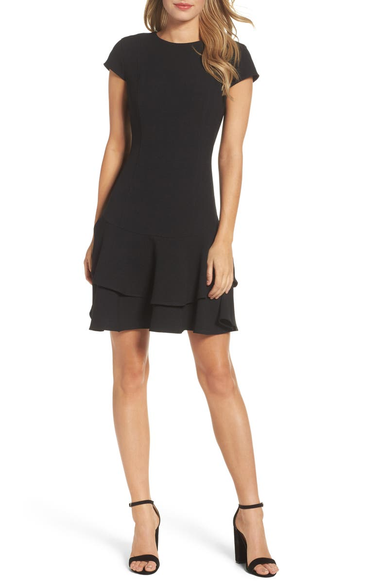 ELIZA J Stretch Ruffle Crepe Sheath Minidress, Main, color, BLACK