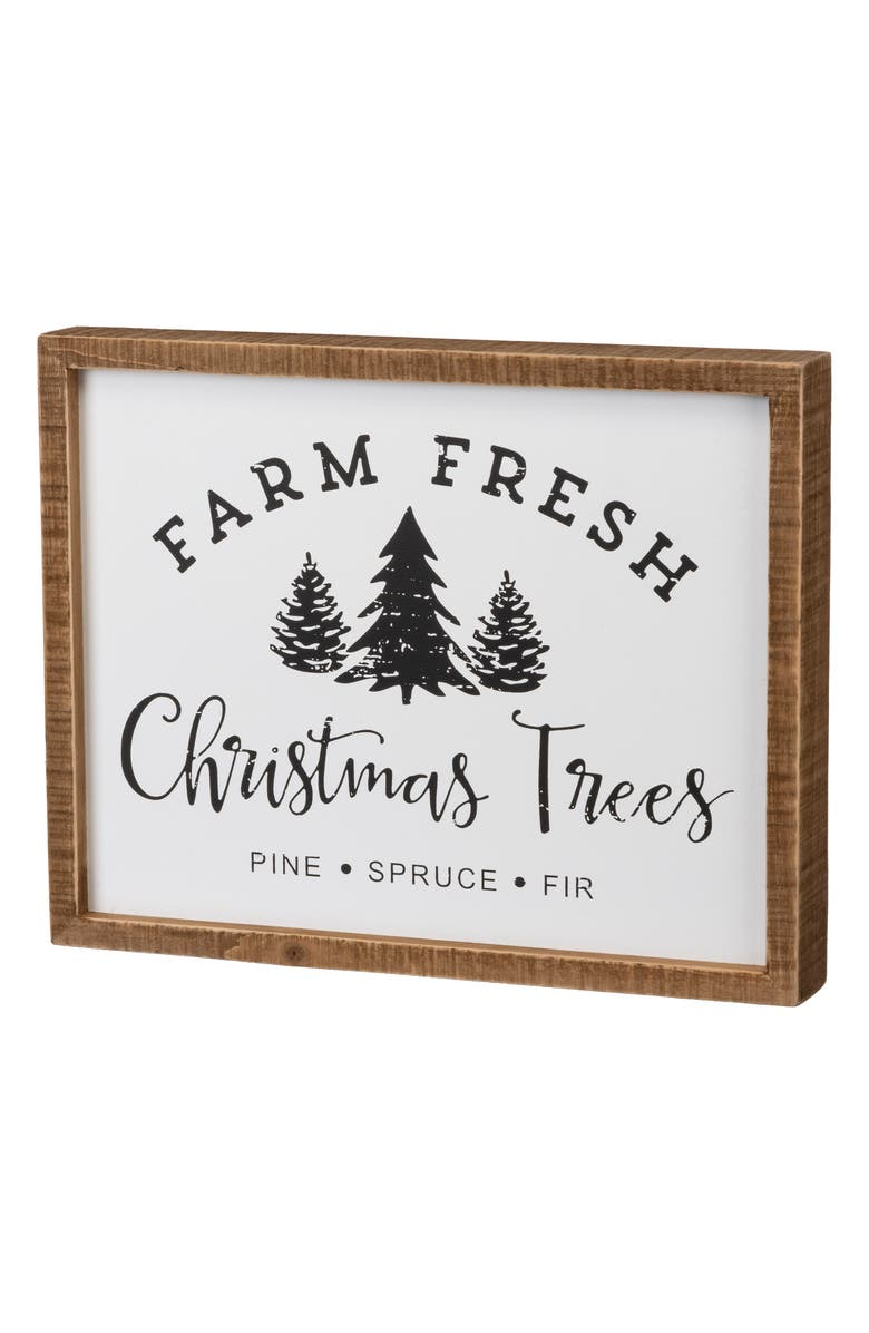 PRIMITIVES BY KATHY Farm Fresh Inset Box Sign, Main, color, WHITE