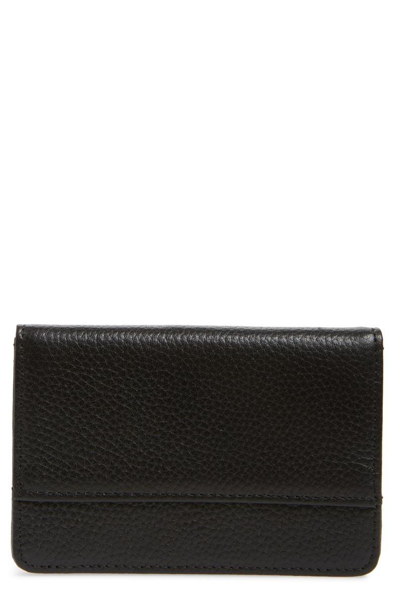 NORDSTROM Ruby Pebbled Leather Cardholder, Main, color, BLACK