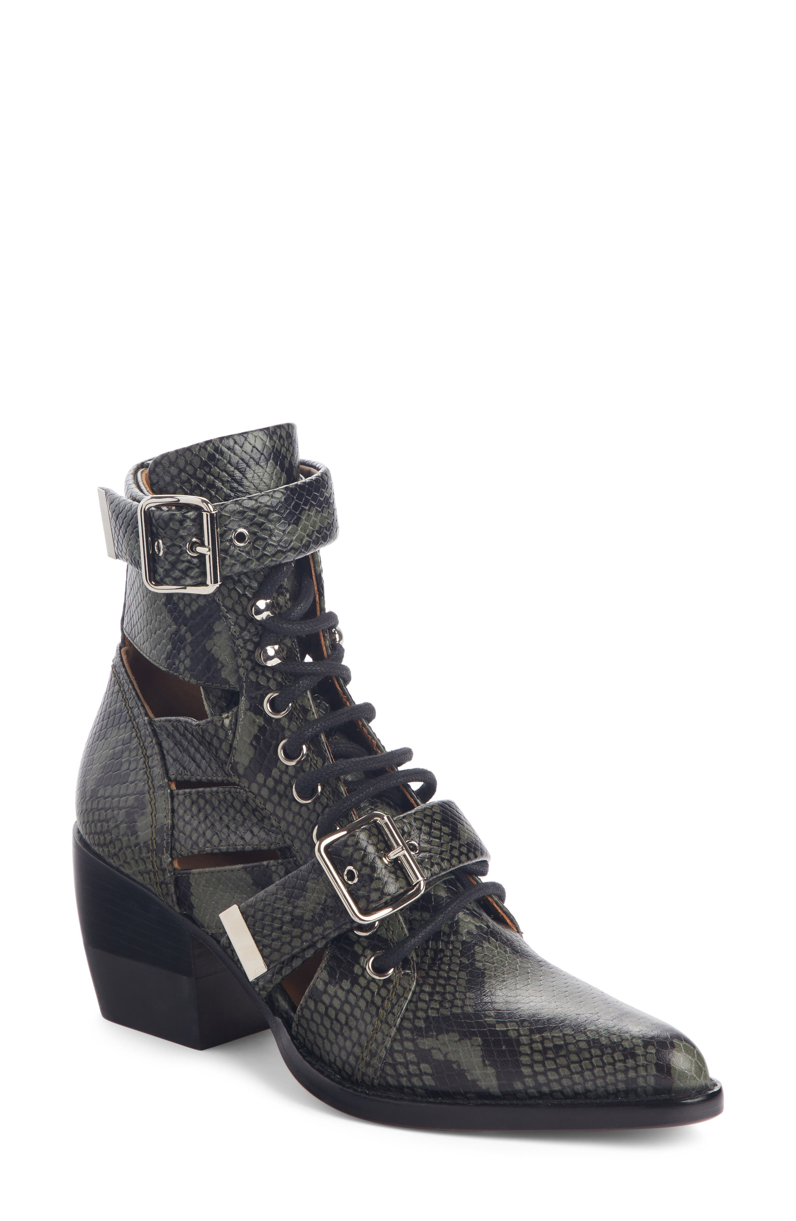 Chloe Rylee Caged Pointy Toe Boot - Green