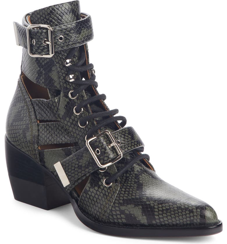 CHLOÉ Rylee Caged Pointy Toe Boot, Main, color, WIDE FOREST