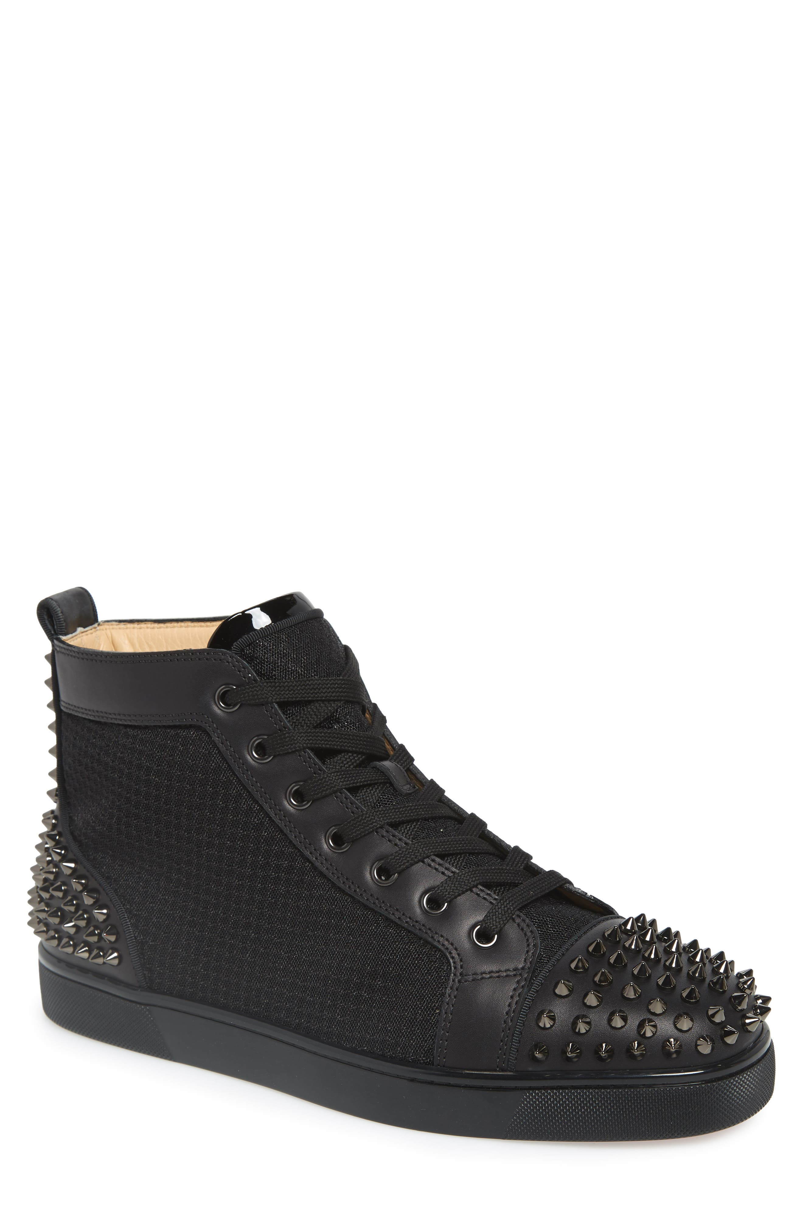 AC Lou Spikes 2 High Top Sneaker, Main, color, BLACK