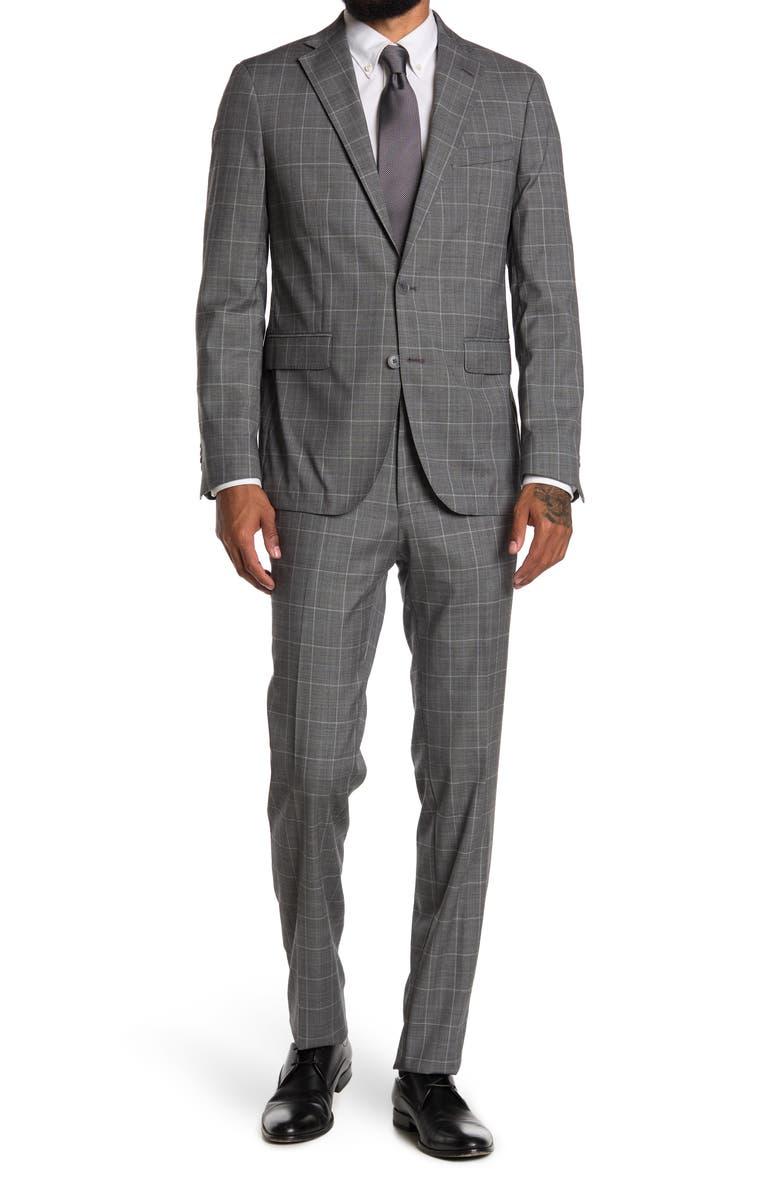 COLE HAAN Two Button Notched Lapel Trim Fit Suit, Main, color, GREY