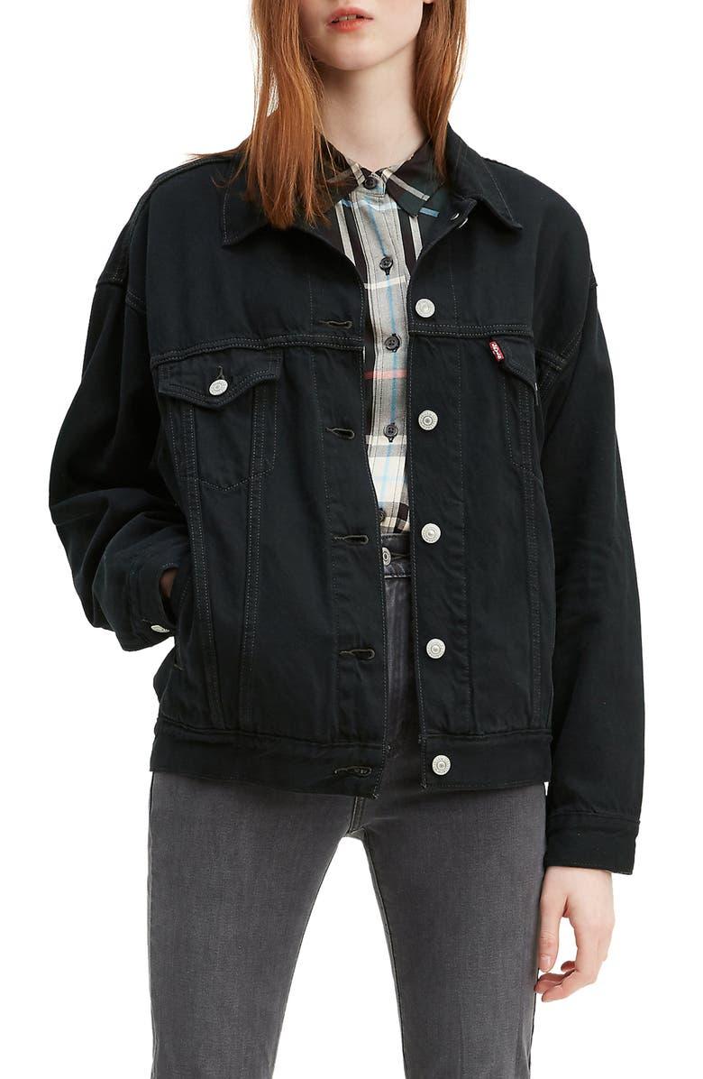 LEVI'S<SUP>®</SUP> Dad Denim Trucker Jacket, Main, color, BLACK SCORPIO
