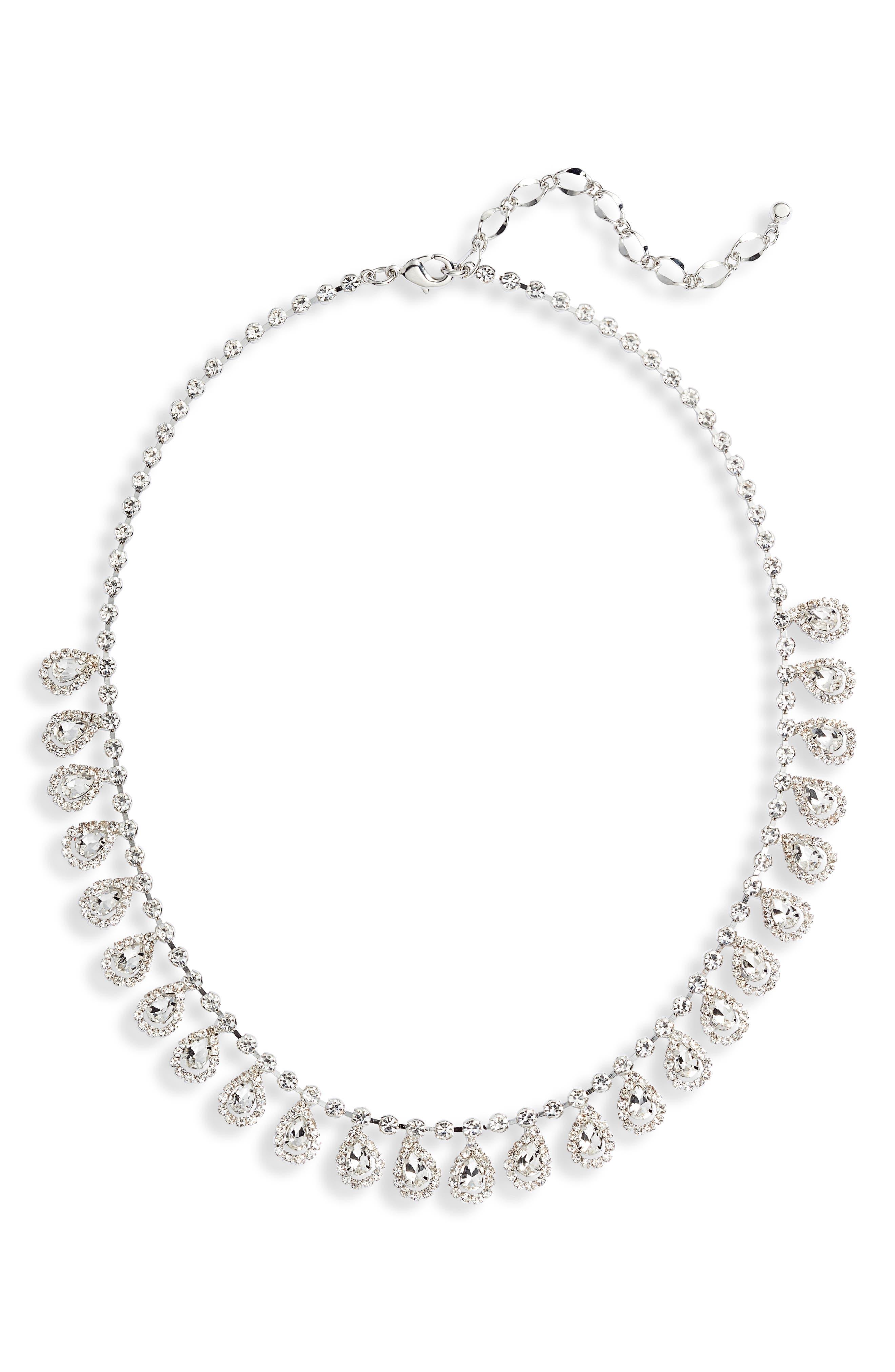 Crystal Teardrop Frontal Necklace