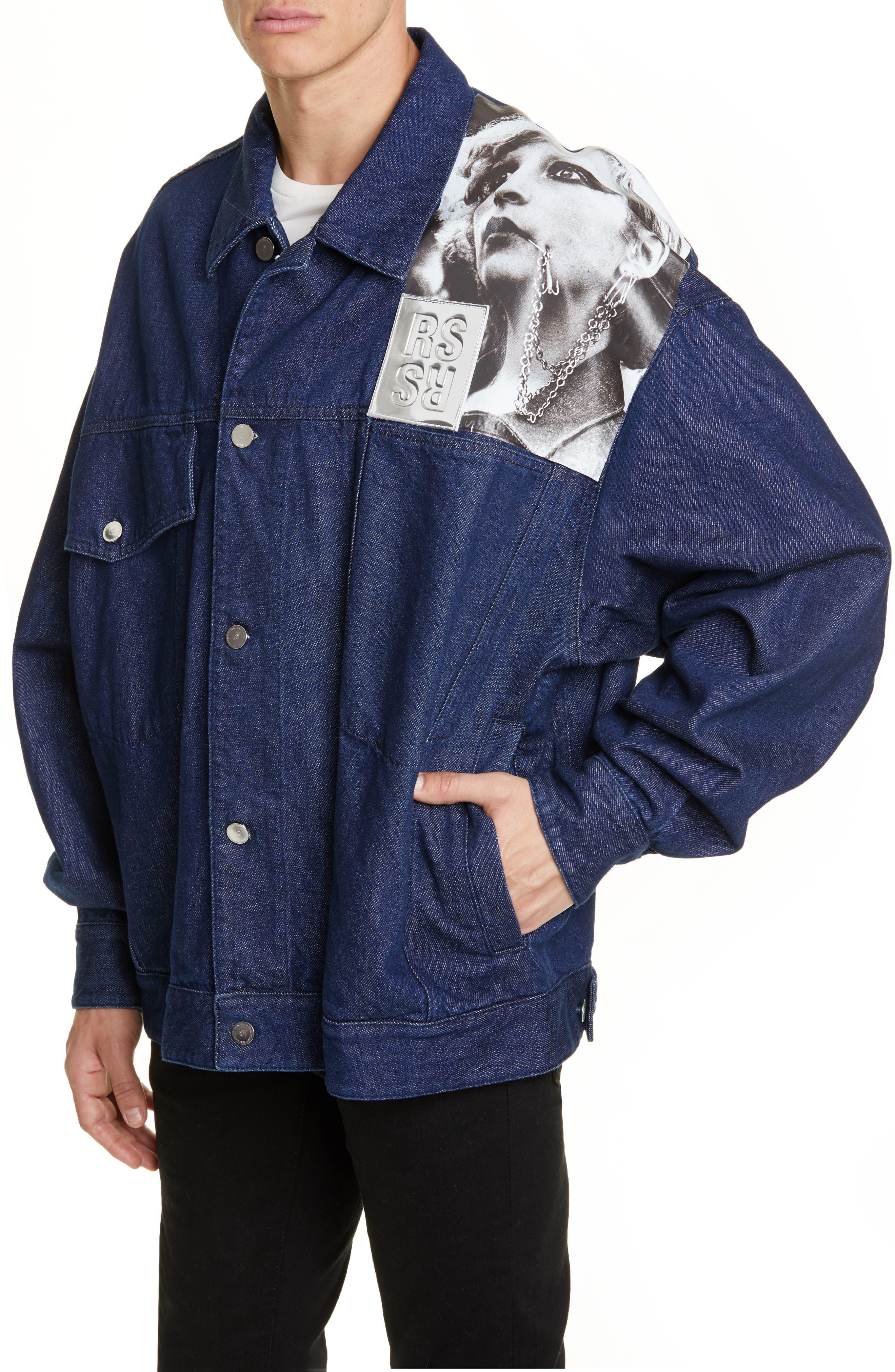 ,                             Punkette Oversize Denim Jacket,                             Alternate thumbnail 4, color,                             DARK NAVY