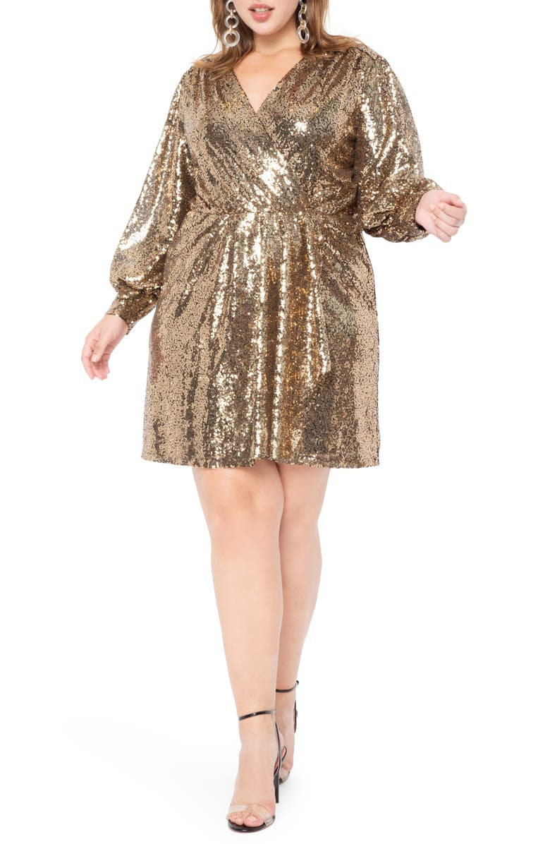 ELOQUII Long Sleeve Sequin Cocktail Dress, Main, color, GOLD