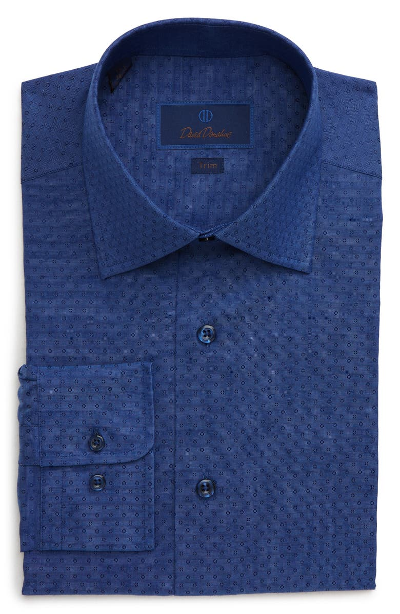 DAVID DONAHUE Trim Fit Print Dress Shirt, Main, color, NAVY