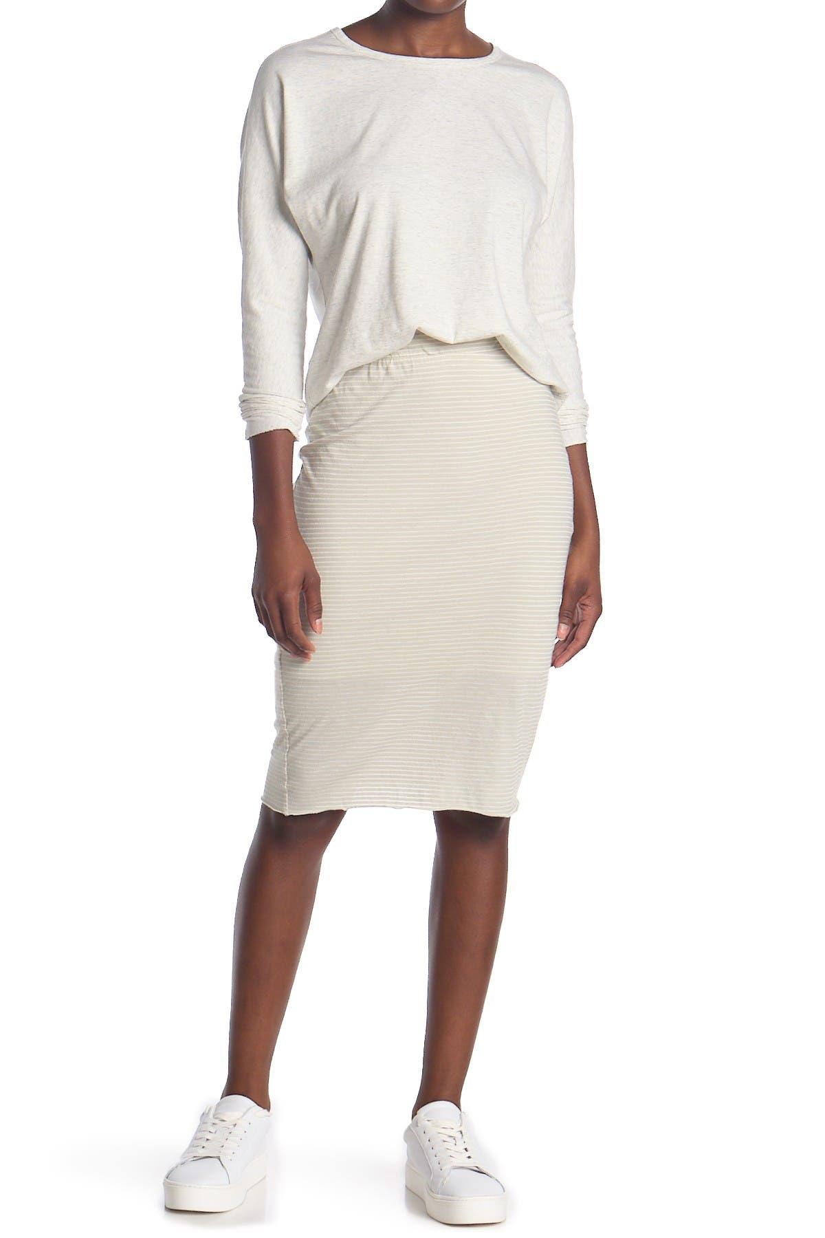 Image of FRANK & EILEEN Striped Jersey Tube Skirt