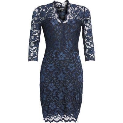 Petite Karen Kane Scalloped Lace Sheath Dress, Blue
