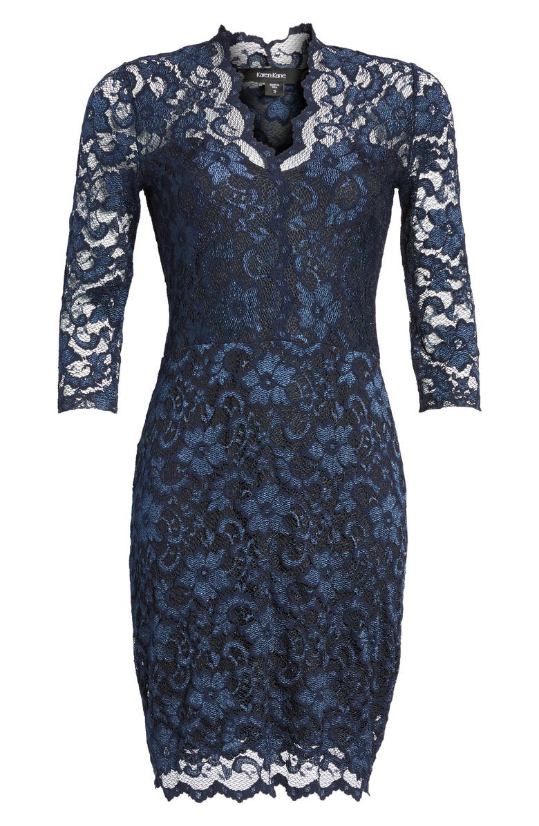 KAREN KANE Scalloped Lace Cocktail Dress, Main, color, NAVY