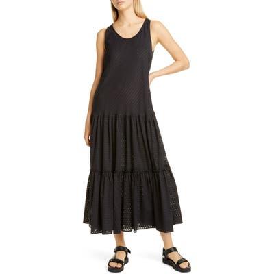 Fuzzi Tiered Cotton Maxi Dress, US / 40 IT - Black