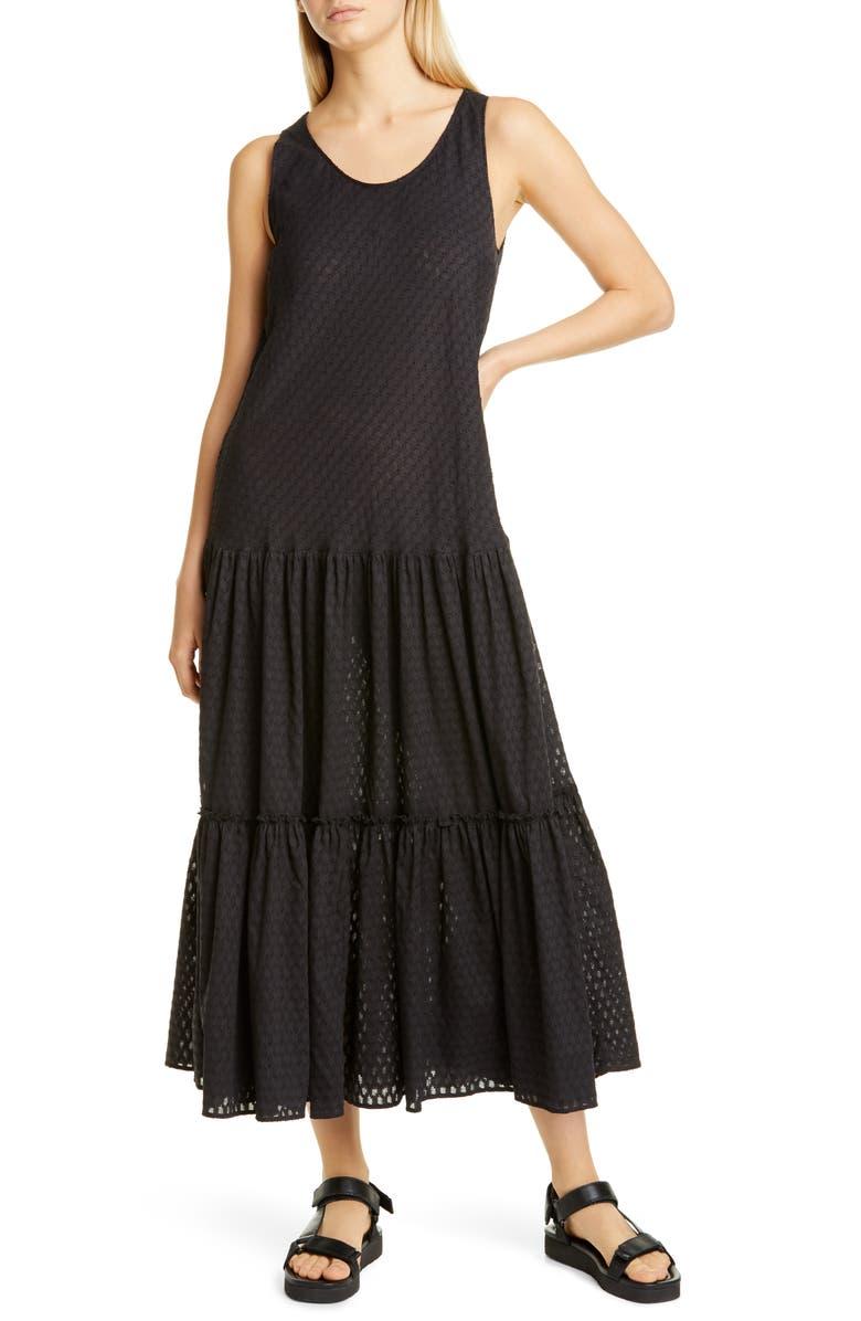 FUZZI Tiered Cotton Maxi Dress, Main, color, NERO
