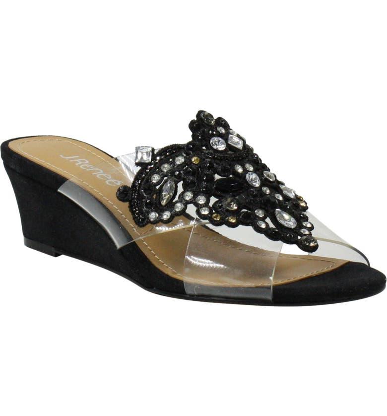 J. RENEÉ J.Renée Allysen Embellished Slide Sandal, Main, color, BLACK/ CLEAR