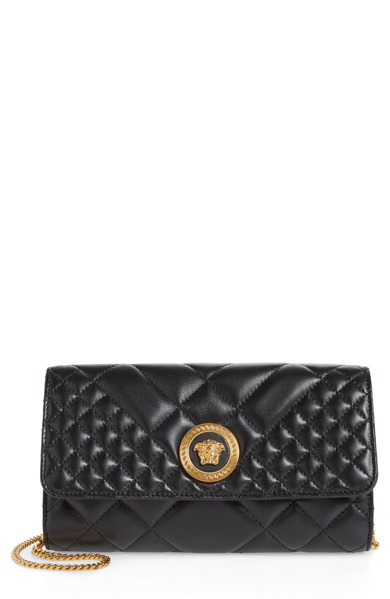 VERSACE Icon Quilted Leather Wallet on a Chain, Main, color, BLACK/ TRIBUTE GOLD