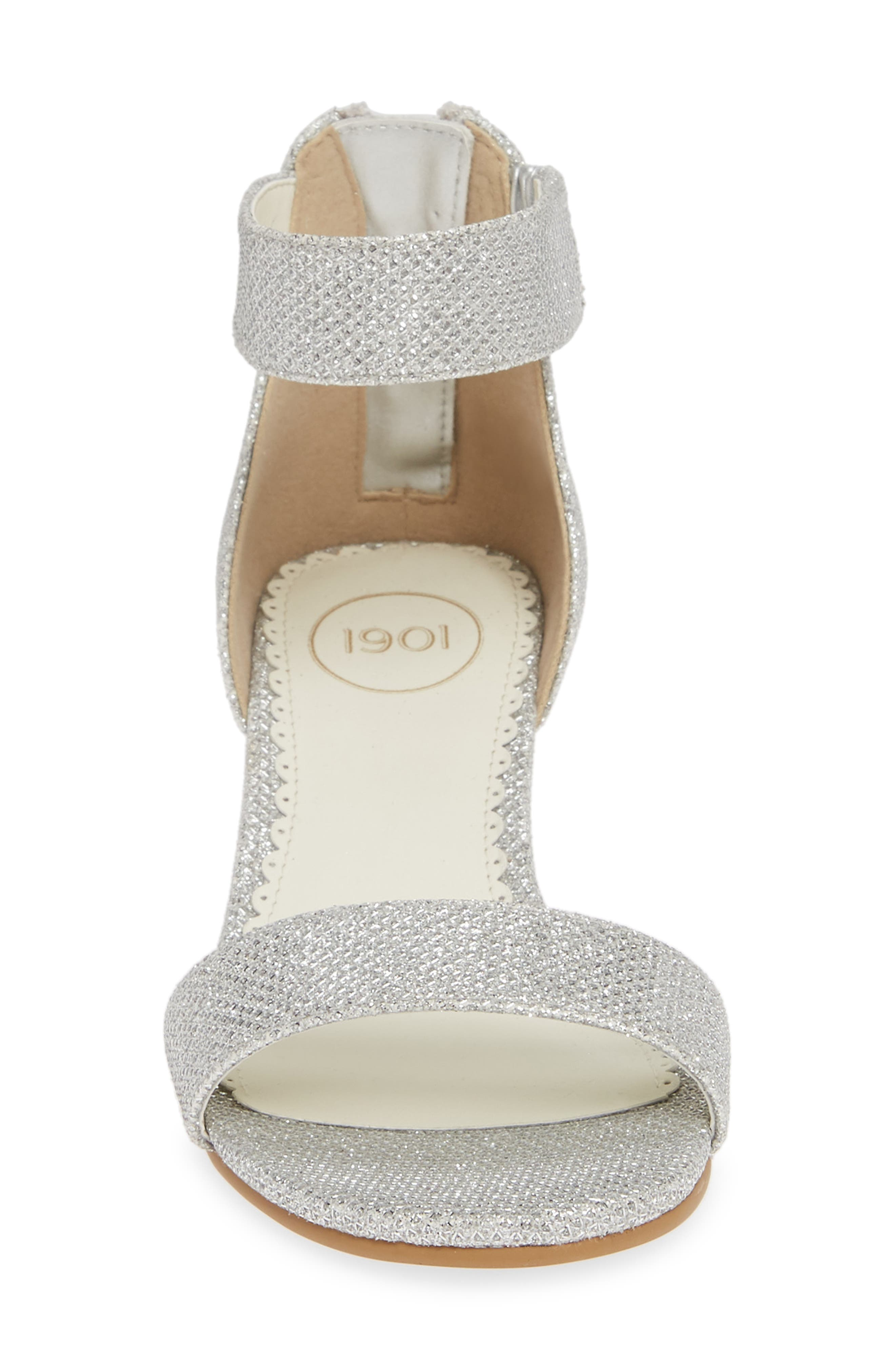 ,                             Cora Glitter Wedge Sandal,                             Alternate thumbnail 4, color,                             SILVER SHIMMER FAUX LEATHER