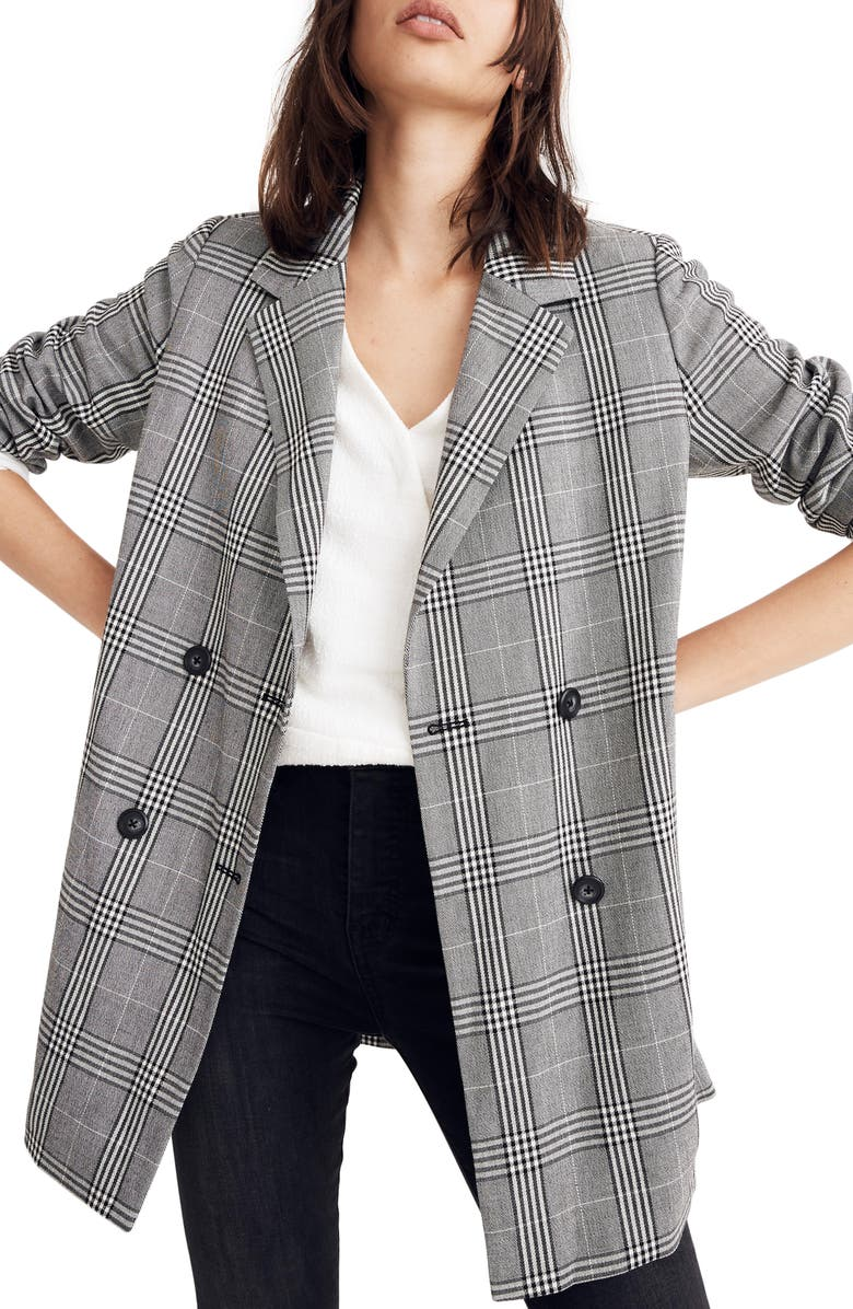 MADEWELL Caldwell Plaid Double Breasted Blazer, Main, color, CLASSIC BLACK