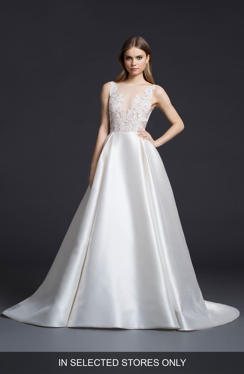LAZARO Lace & Mikado Ballgown Wedding Dress, Main, color, 901