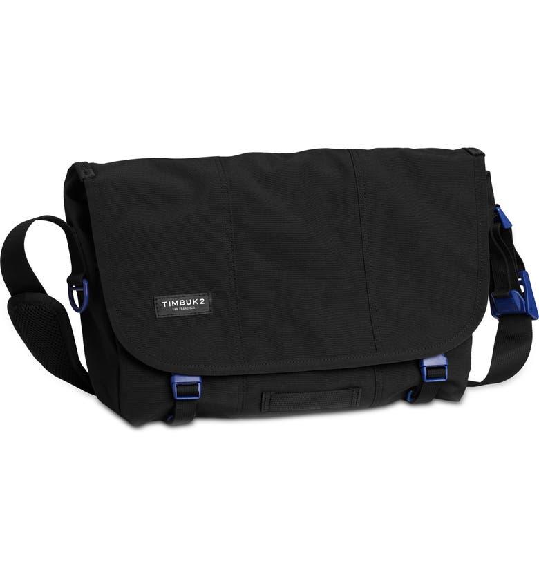 TIMBUK2 Flight Classic Messenger Bag, Main, color, JET BLACK/ BLUE WISH