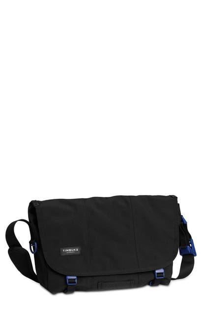 Timbuk2 Flight Classic Messenger Bag In Jet Black/ Blue Wish