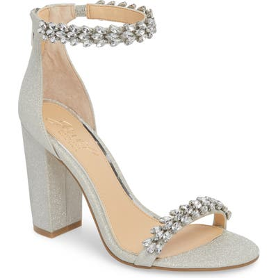 Jewel By Badgley Mischka Mayra Embellished Ankle Strap Sandal- Metallic