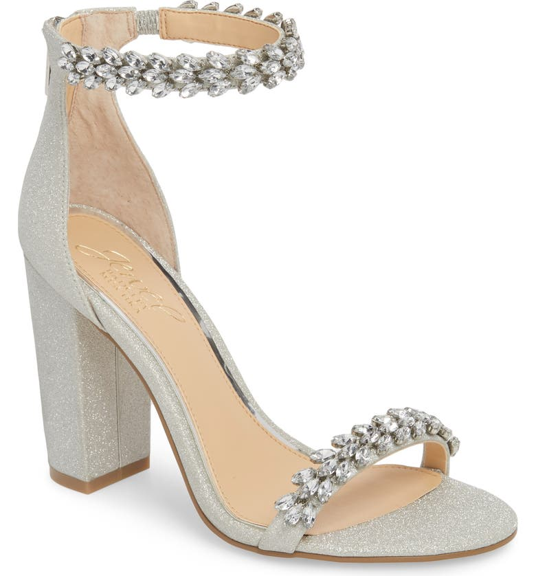 JEWEL BADGLEY MISCHKA Jewel by Badgley Mischka Mayra Embellished Ankle Strap Sandal, Main, color, SILVER GLITTER FABRIC