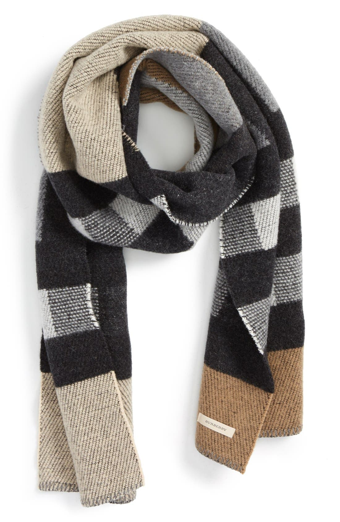 Check Wool & Cashmere Blanket Scarf, Main, color, 250