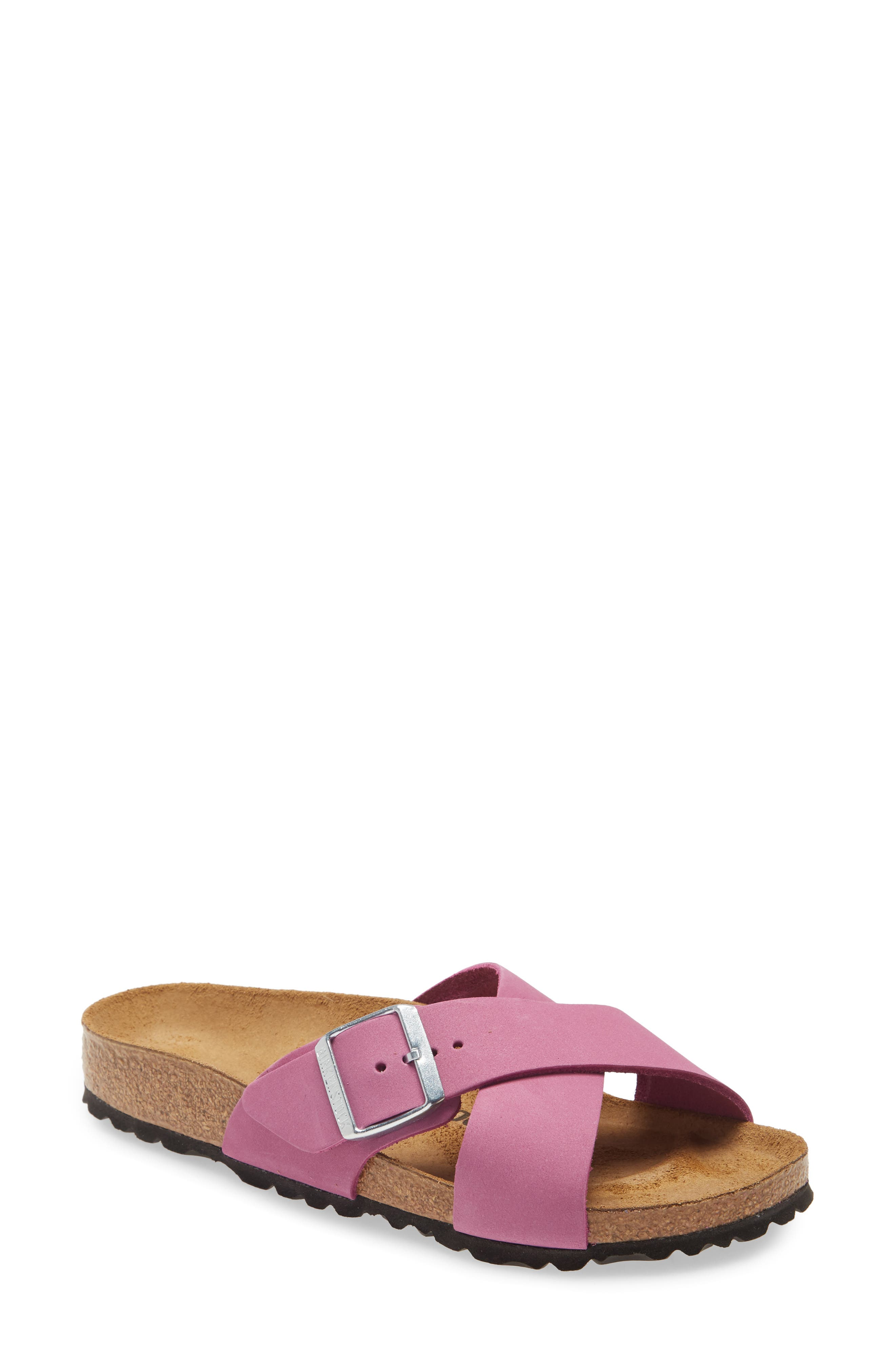 Smooth nubuck leather elevates the sophistication of a buckled slide sandal boasting all-day comfort and arch support. Style Name: Birkenstock Siena Slide Sandal (Women). Style Number: 6042765. Available in stores.