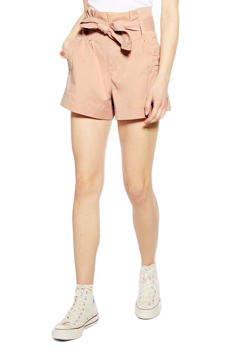 TOPSHOP Paperbag Utility Shorts, Main, color, 250