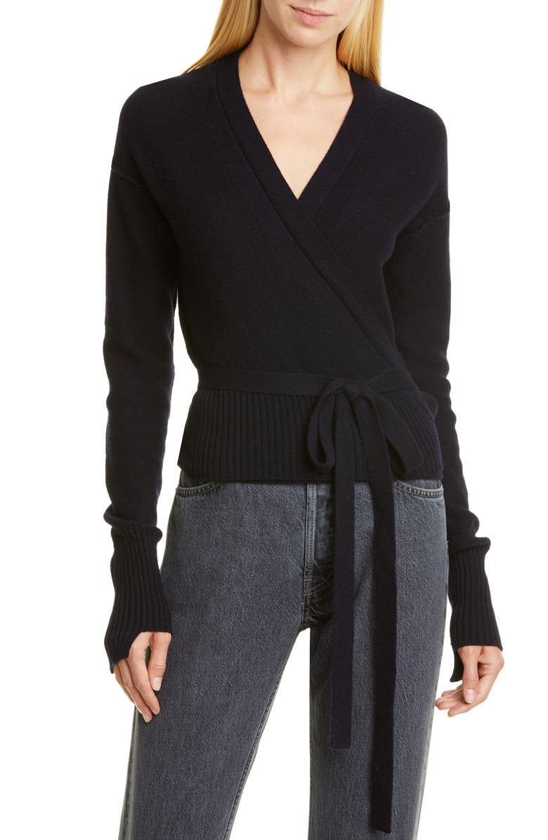 HELMUT LANG Cashmere Wrap Cardigan, Main, color, INK