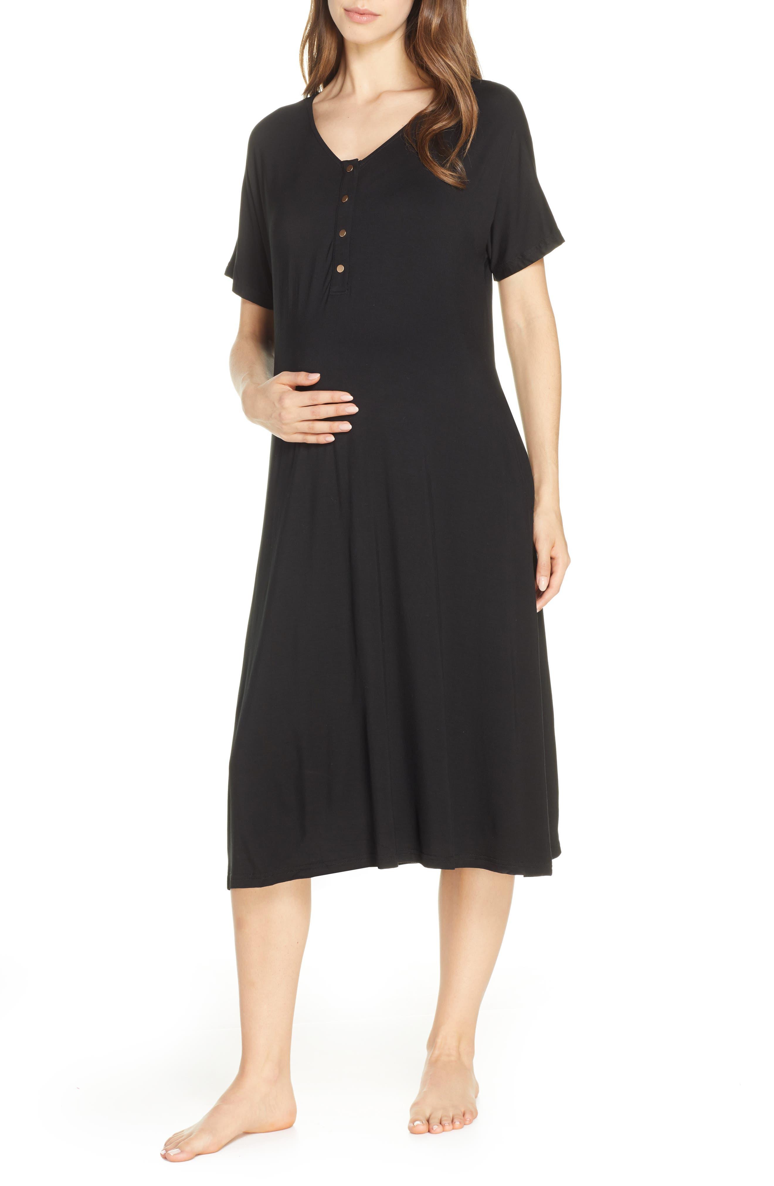 Nesting Olive Solid Maternity/nursing Sleep Shirt, Black