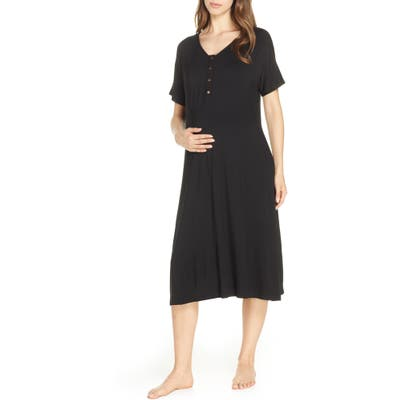 Nesting Olive Solid Maternity/nursing Sleep Shirt, Black
