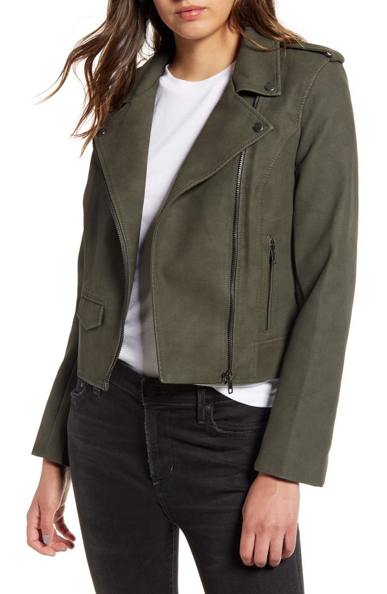 BB DAKOTA Ain't It Cool Faux Leather Jacket, Main, color, GREEN MOSS