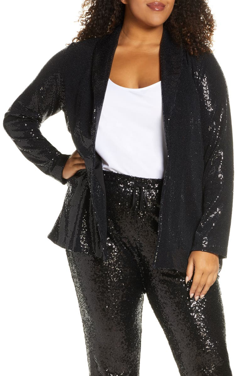 GIBSON x Glam Living in Yellow Sequin Shine Blazer, Main, color, 001