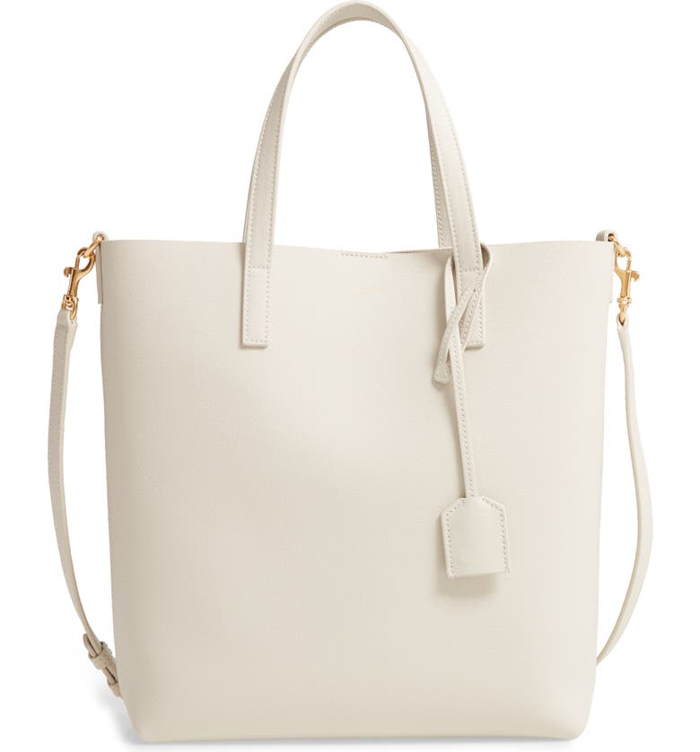 SAINT LAURENT Toy North/South Leather Tote, Main, color, BLANC VINTAGE