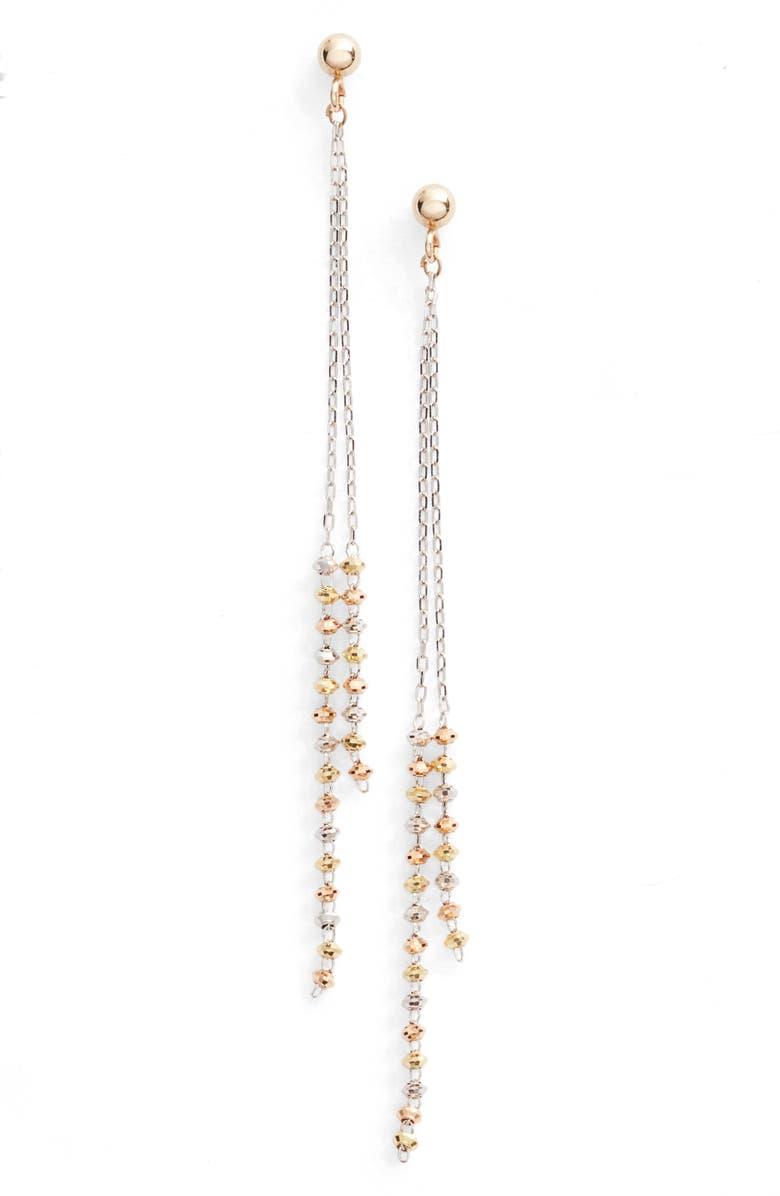 POPPY FINCH Double Shimmer Linear Drop Earrings, Main, color, TRI GOLD