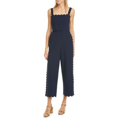 Rebecca Taylor Sleeveless Scalloped Jumpsuit, Blue