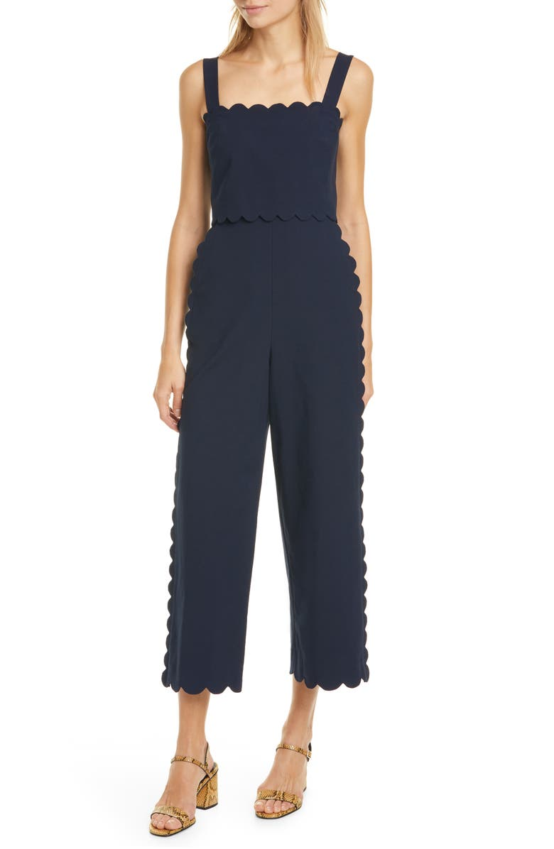 REBECCA TAYLOR Sleeveless Scalloped Jumpsuit, Main, color, NAVY
