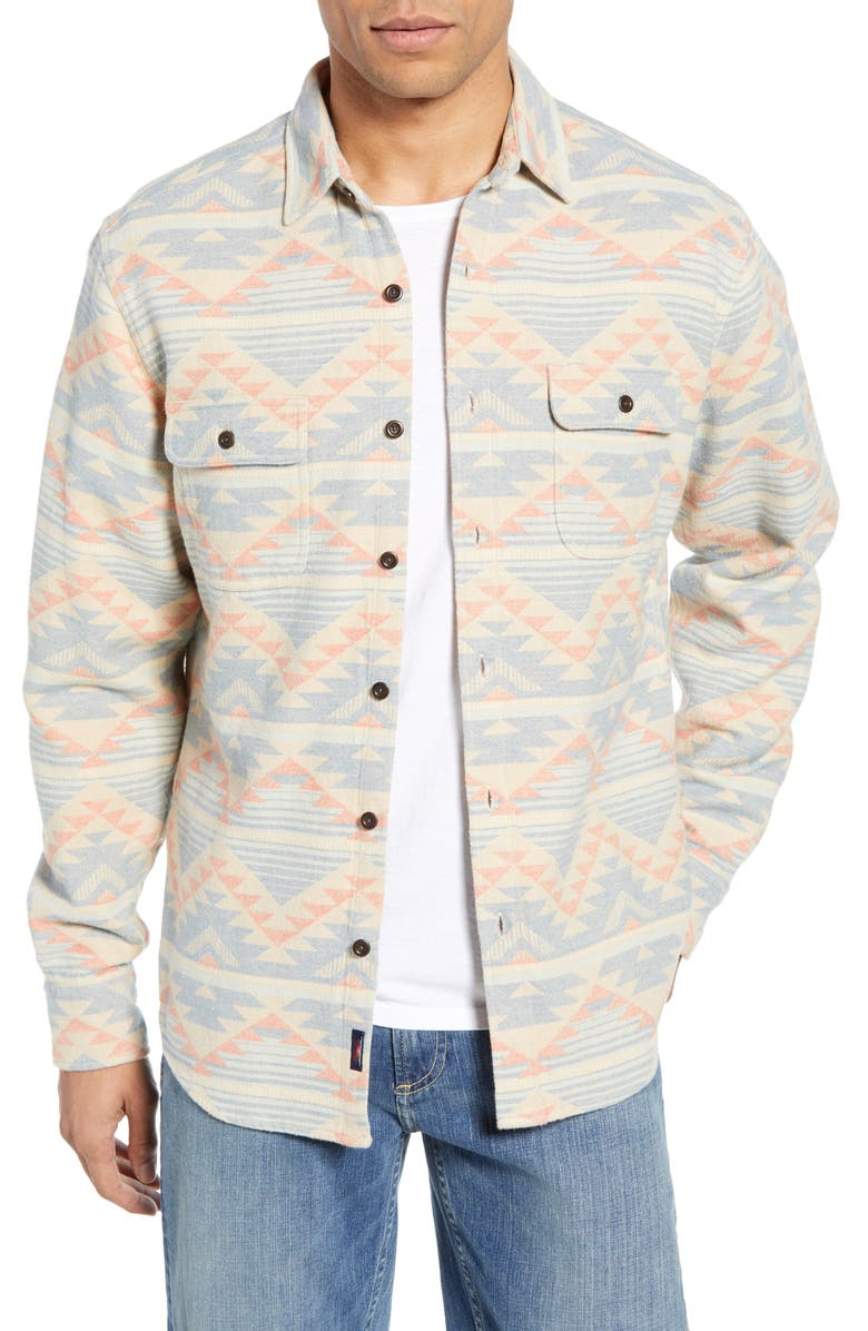 FAHERTY Belmar Organic Cotton Shirt, Main, color, DUSTED DUNE