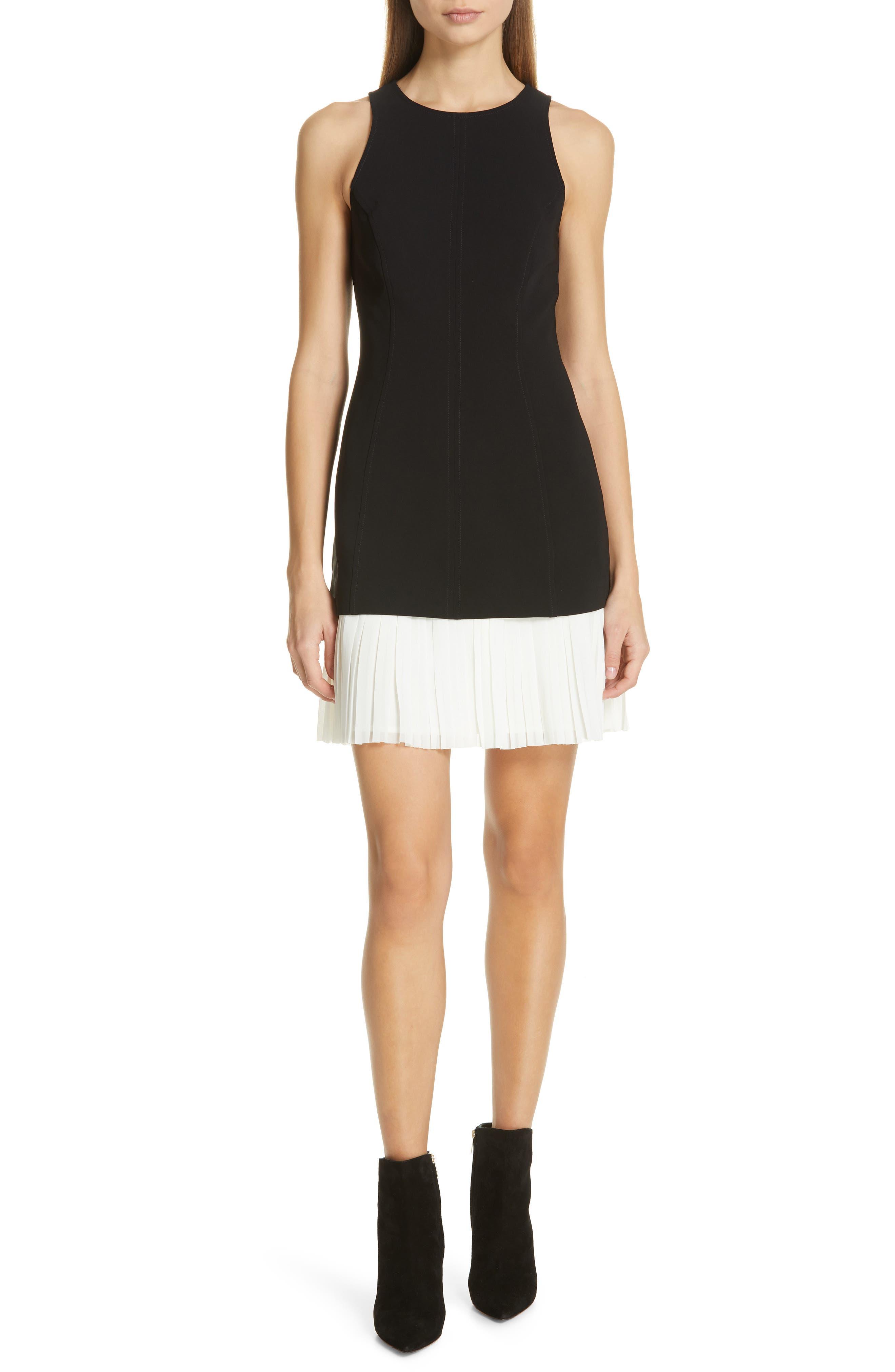 Cinq A Sept Catronia Pleated Sheath Dress, Black