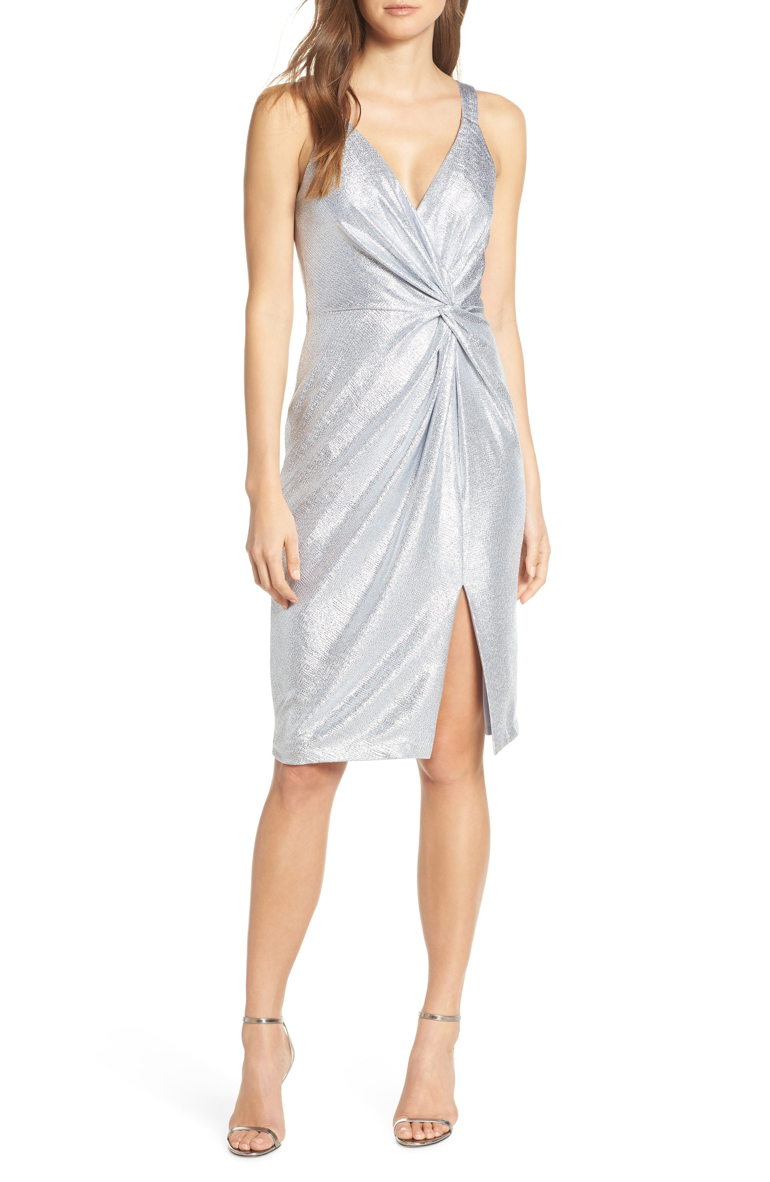 1960s – 70s Cocktail, Party, Prom, Evening Dresses Womens Eliza J Twisted Dress Size 2 - Blue $88.80 AT vintagedancer.com