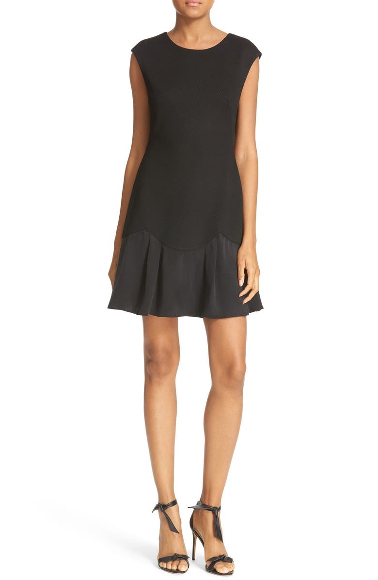 REBECCA TAYLOR Stacy Drop Waist Dress, Main, color, BLACK