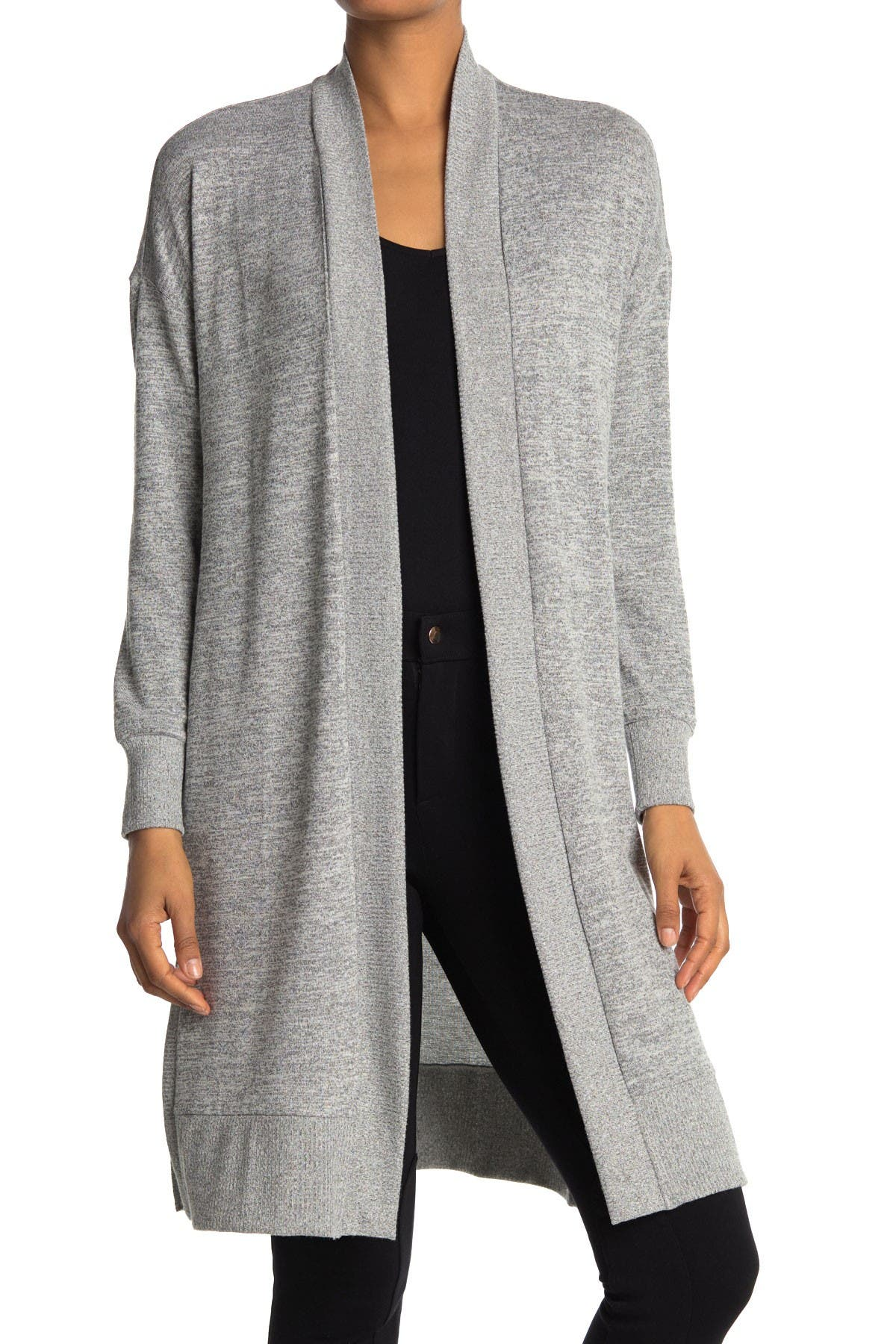 Image of Joan Vass Ribbed Knit Long Line Cardigan