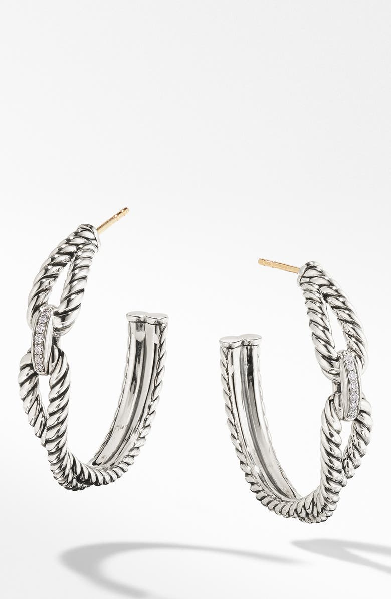 DAVID YURMAN Cable Loop Hoop Earrings with Diamonds, Main, color, STERLING SILVER/ DIAMOND