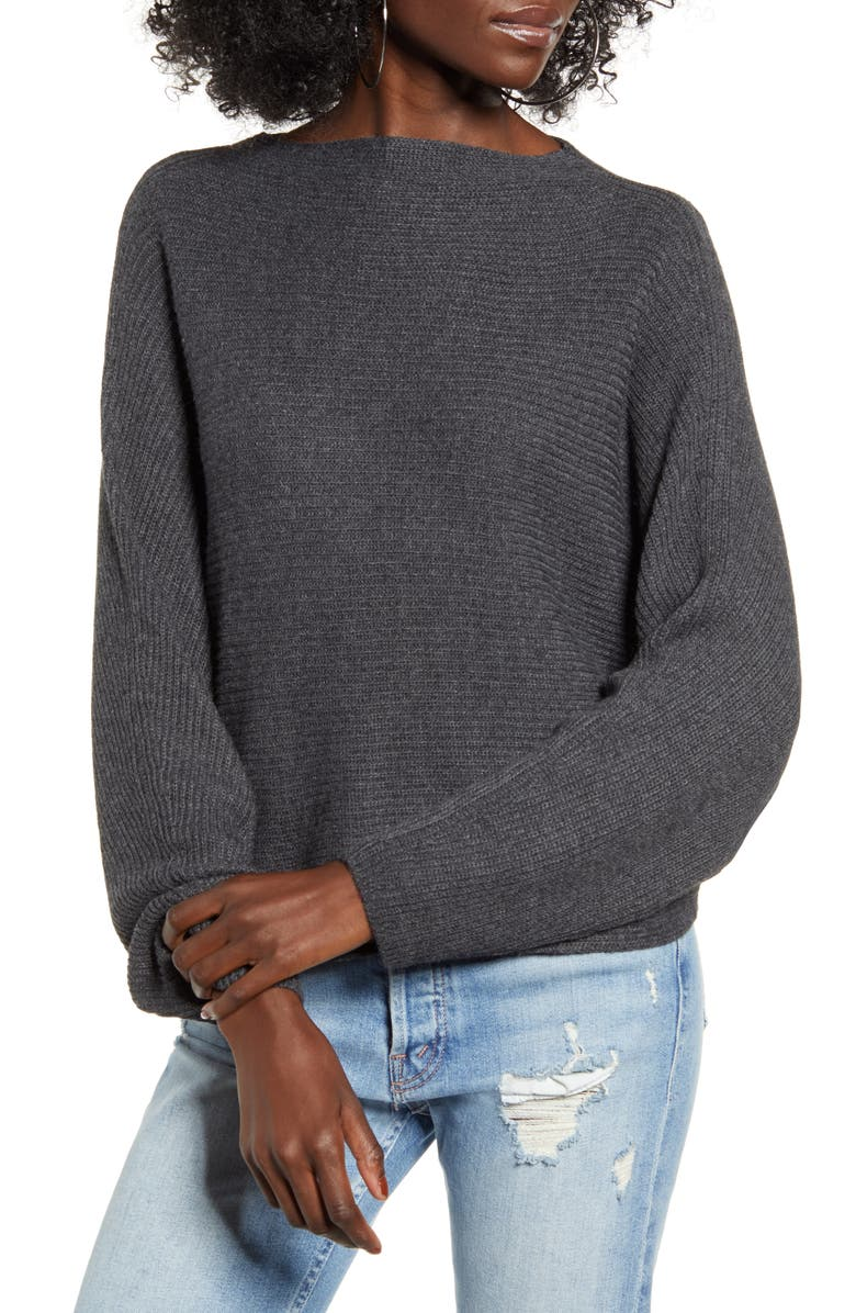 LEITH Dolman Sleeve Crop Sweater, Main, color, GREY DARK CHARCOAL HEATHER
