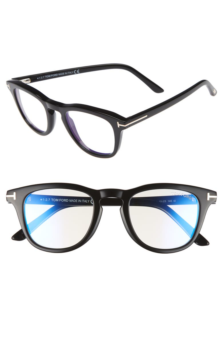 TOM FORD 49mm Blue Light Blocking Glasses, Main, color, SHINY BLACK/ BLUE