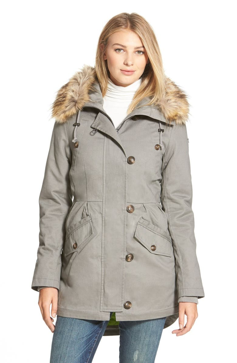 SAM EDELMAN Twill Pleat Skirt Parka with Faux Fur Trim Hood, Main, color, 014